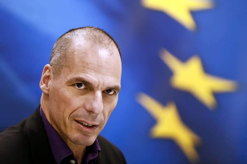 Greek Finance Minister Varoufakis speaks during a press conference to present the ministry's new general secretaries at the ministry building in Athens