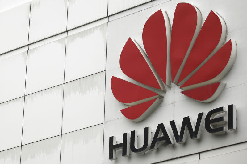 FILE PHOTO: The logo of the Huawei Technologies Co. Ltd. is seen outside its headquarters in Shenzhen, Guangdong province