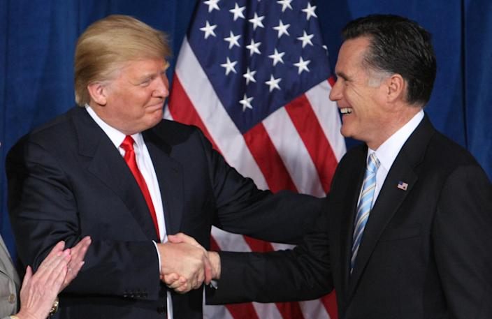 Donald Trump greets Mitt Romney after endorsing his candidacy for president at the Trump Hotel in Las Vegas, Nevada February 2, 2012. (Photo: Steve Marcus/ Reuters)