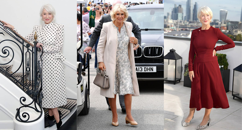 Camilla, Duchess of Cornwall and Dame Helen Mirren seen wearing Sole Bliss heels. Images courtesy of Sole Bliss.