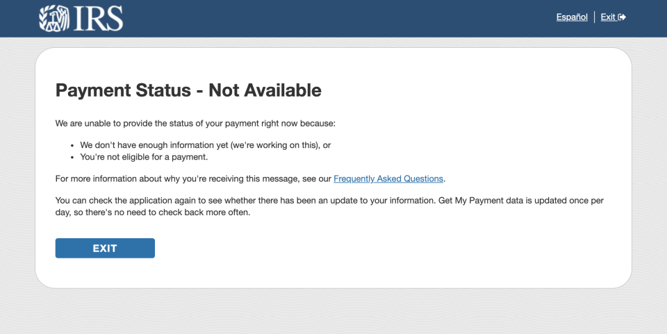 """The 'Get My Payment App' tool shows a """"Payment Status Not Available"""" response. Photo: Yahoo Finance"""