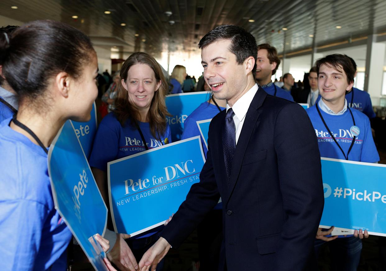 Buttigieg, also a candidate for Democratic National Committee chair, greets supporters in Baltimore, Feb. 11, 2017. (Photo: Joshua Roberts/Reuters)