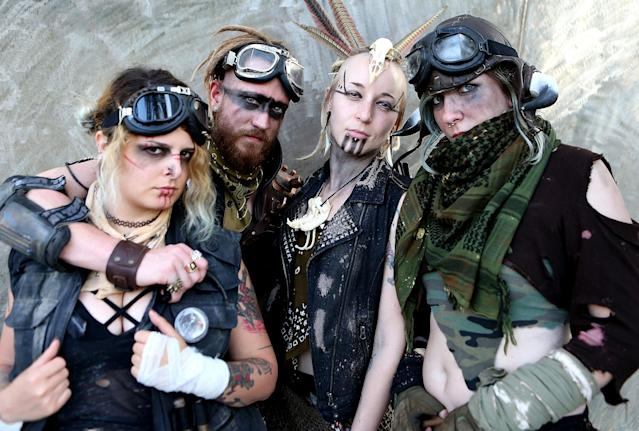 <p>Cosplayers dressed as <em>Mad Max</em> characters at Comic-Con International on July 20, 2018, in San Diego. (Photo: Mario Tama/Getty Images) </p>