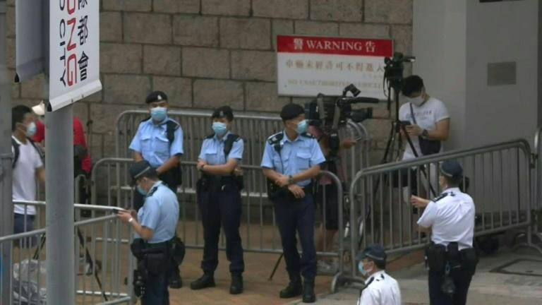 Images outside court as Hong Kong's first 'national security' trial to begin