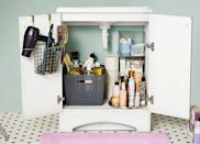 <p>Keep mornings running smoothly with an organized bathroom. Store hair tools on the cabinet door, and go-to products on a turntable. When everything's in its place, you can grab what you need in a flash and know when the toothpaste is running low. </p>
