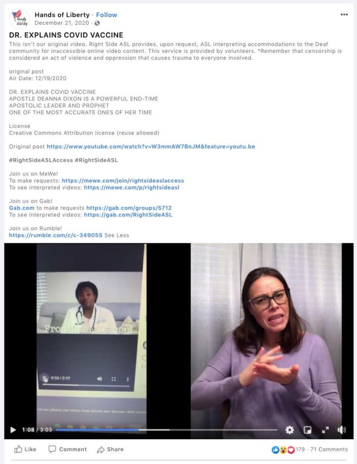 """Mewshaw in a video on Hands of Liberty's since-Facebook page promoting a doctor who has spread anti-vaccine conspiracy theories.<span class=""""copyright"""">Mewshaw in a video on Hands of Liberty's since-Facebook page promoting a doctor who has spread anti-vaccine conspiracy theories.</span>"""