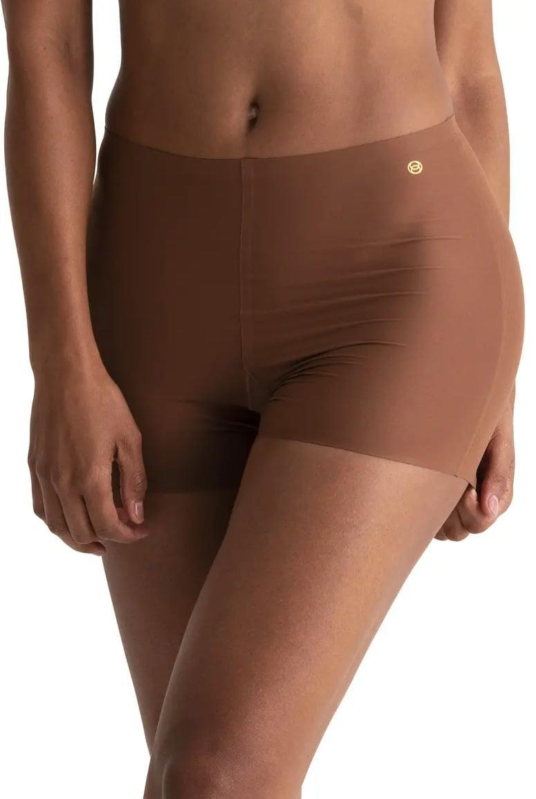 <p>Eliminate panty lines in these <span>Evelyn & Bobbie Girlshort Microfiber Boyshorts </span> ($60, for three pack).</p>