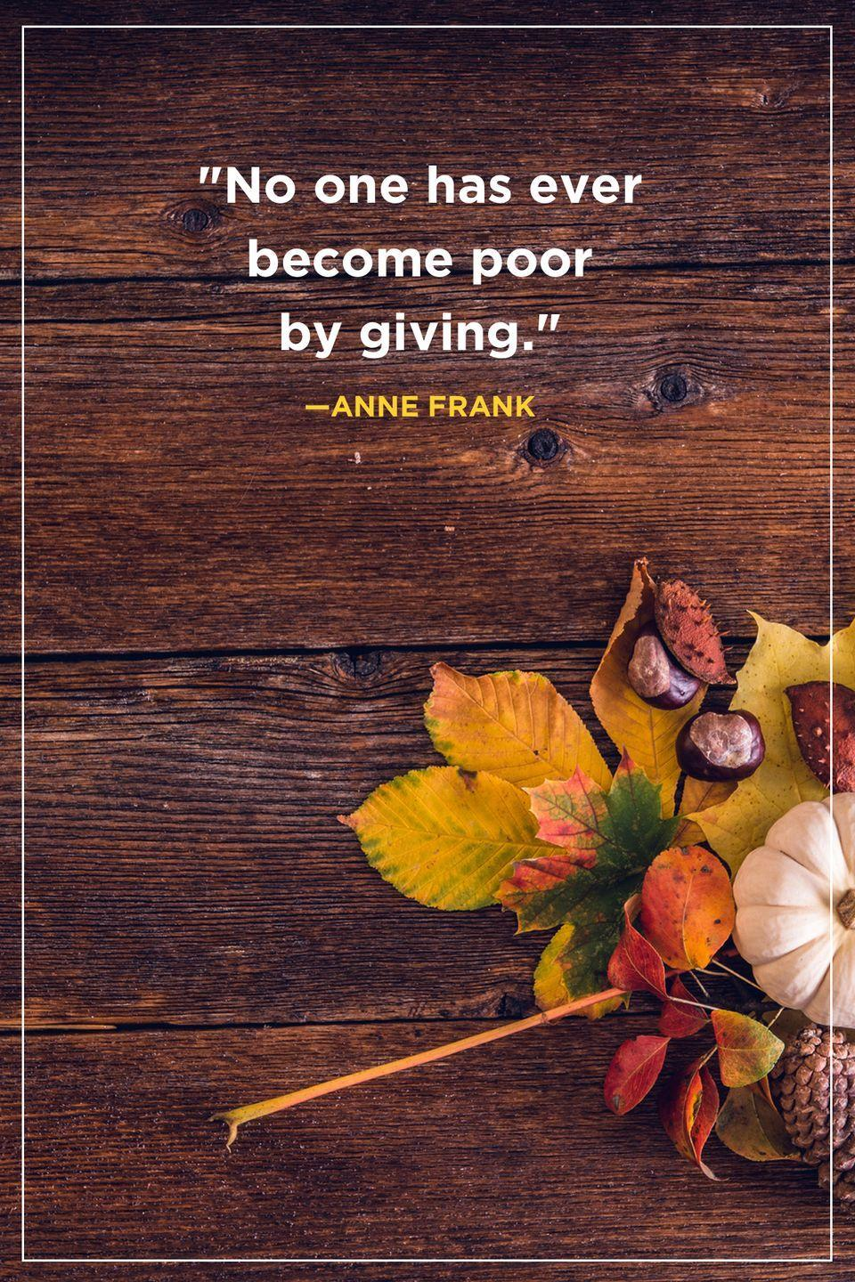 """<p>""""No one has ever become poor by giving.""""</p>"""