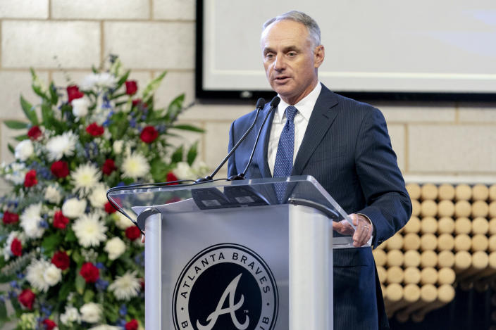 "Major League Baseball Commissioner Rob Manfred speaks during ""A Celebration of Henry Louis Aaron,"" a memorial service celebrating the life and enduring legacy of the late Hall of Famer and American icon, on Tuesday, Jan. 26, 2021, at Truist Park in Atlanta. (Kevin D. Liles/Atlanta Braves via AP Pool)"