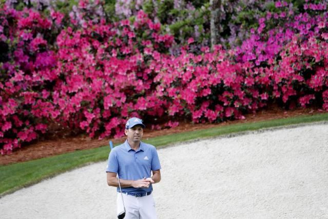 Sergio Garcia of Spain looks over the 13th green during the final day of practice for the 2018 Masters golf tournament at Augusta National Golf Club in Augusta, Georgia, U.S. April 4, 2018. REUTERS/Jonathan Ernst