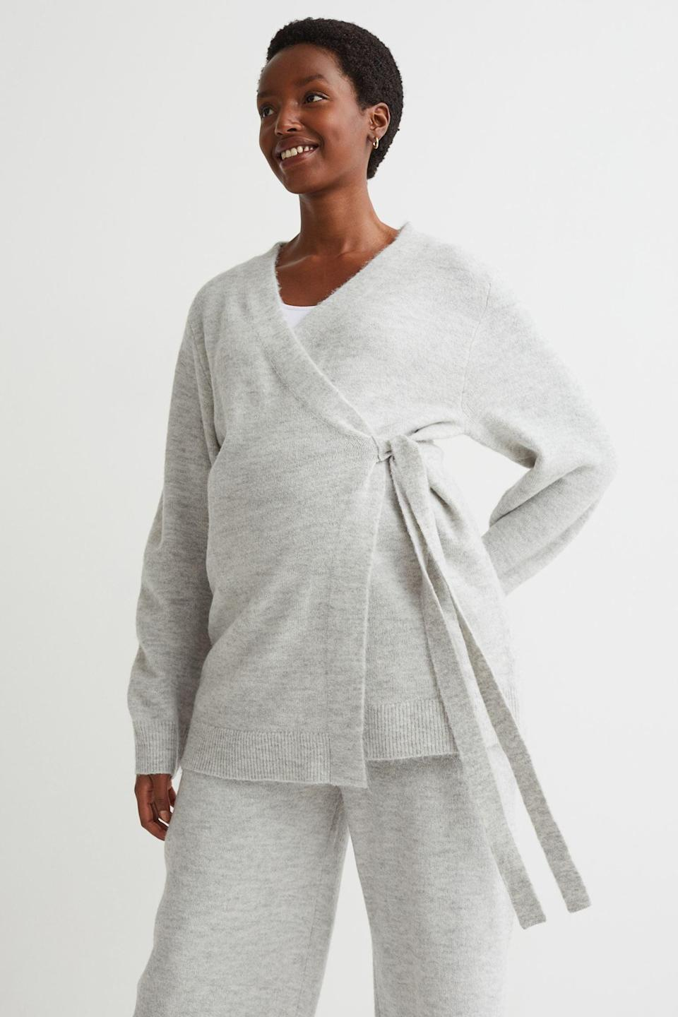 <p>They won't want to take this <span>MAMA Wrap-front Cardigan</span> ($35), and why would they? It's comfy, roomy, and it looks put-together for lounging at home or going out.</p>