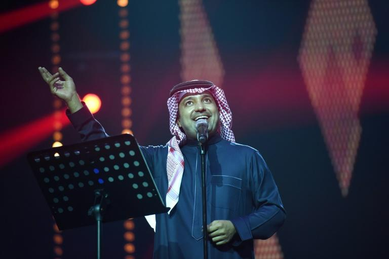 Saudi singer Rashed al-Majed performs during a rare concert in Riyadh on March 9, 2017