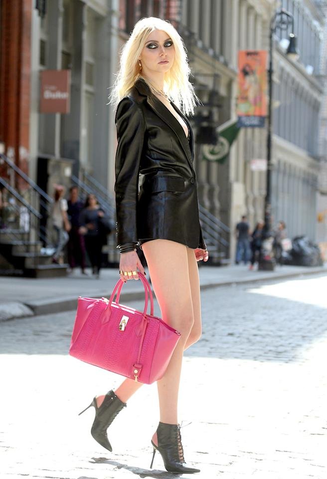 """Former """"Gossip Girl"""" co-star Taylor Momsen never was a big proponent of pants ... or smiles. (4/9/2013)"""