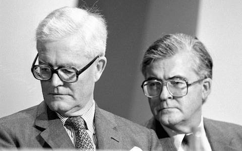 Kenneth Baker with Geoffrey Howe at the Conservative Party Conference in 1990