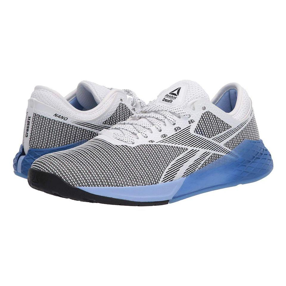 """<p><strong>Reebok</strong></p><p>zappos.com</p><p><strong>$62.11</strong></p><p><a href=""""https://go.redirectingat.com?id=74968X1596630&url=https%3A%2F%2Fwww.zappos.com%2Fp%2Freebok-nano-9-white-black-blue-blast%2Fproduct%2F9147341&sref=https%3A%2F%2Fwww.prevention.com%2Ffitness%2Fworkout-clothes-gear%2Fg22749024%2Fbest-cross-training-shoes-for-women%2F"""" rel=""""nofollow noopener"""" target=""""_blank"""" data-ylk=""""slk:Shop Now"""" class=""""link rapid-noclick-resp"""">Shop Now</a></p><p>Training sneakers with a flexible, breathable upper and low-cut design around the ankle gives you <strong>the ability to comfortably move in all directions </strong>and tackle fast-paced workouts without delay. Made with CrossFit members in mind, the Nano 9 is also beloved by customers who perform other kinds of training exercises in the gym. It has a protective forefoot cushioning, plus a supportive wrap, and even more padding in the midsole, this will allow you to keep going until your workout is complete. </p><p>One Zappos customer says: """"I am a daily cross fitter, and have many pairs of Reebok Nanos as well as Nike Metcons. This new version of the Nano is very comfortable. I have used it for olympic lifting, rope climbing, box jumps, burpees and running, and it feels comfortable for every workout.""""</p>"""