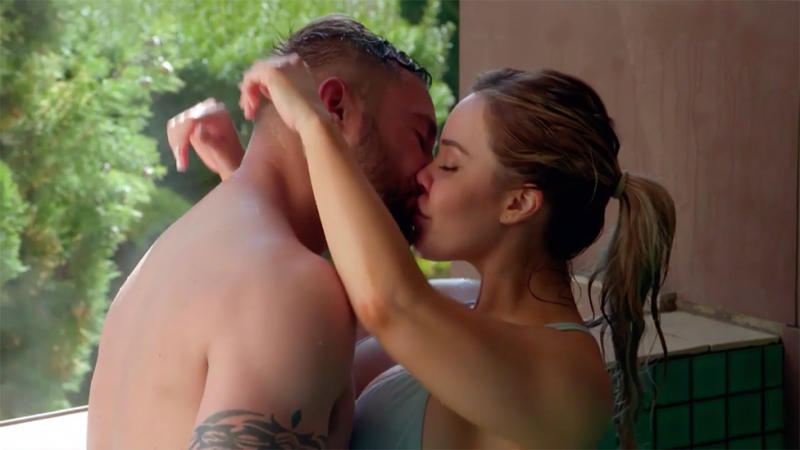 Cathy and Josh kiss with wet hair on MAFS honeymoon