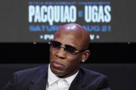 Yordenis Ugas, of Cuba, attends a news conference Wednesday, Aug. 18, 2021, in Las Vegas. Ugas is scheduled to fight Manny Pacquiao, of the Philippines, in a welterweight championship bout Saturday in Las Vegas. (AP Photo/John Locher)