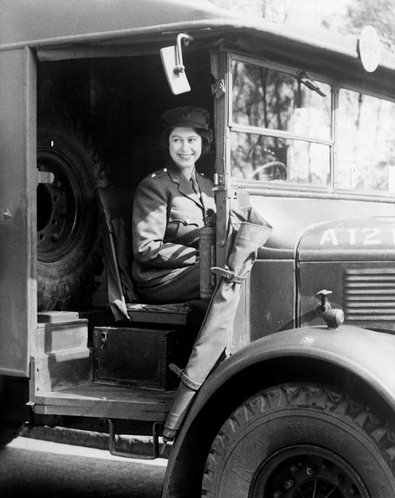 Princess Elizabeth at the wheel of an army vehicle while serving in the Auxiliary Territorial Service during the Second World War (PA)