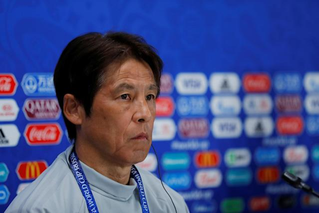 Soccer Football - World Cup - Japan Press Conference - Ekaterinburg Arena, Yekaterinburg, Russia - June 23, 2018 Japan coach Akira Nishino during the press conference REUTERS/Andrew Couldridge