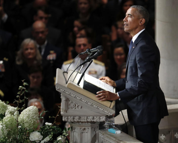 "<span class=""s1"">Former President Barack Obama speaks at the National Cathedral memorial service on Saturday. (Photo: Pablo Martinez Monsivais/AP)</span>"