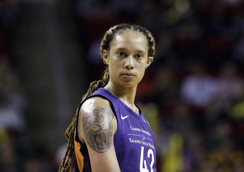 Brittney Griner doesn't plan to be on the floor this season when the anthem is played. (AP Photo/Elaine Thompson)