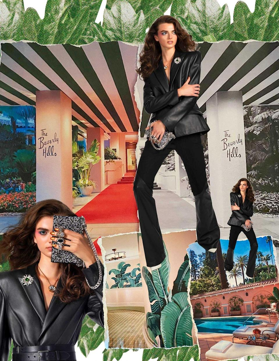 Photos of a model wearing a black pant suit, superimposed on photos of the Beverly Hills Hotel