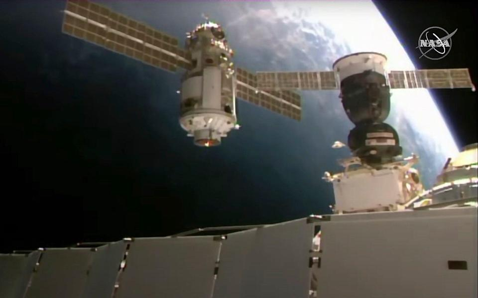 This image provided by Nasa shows the Nauka module as it approached the International Space Station on Thursday - Nasa
