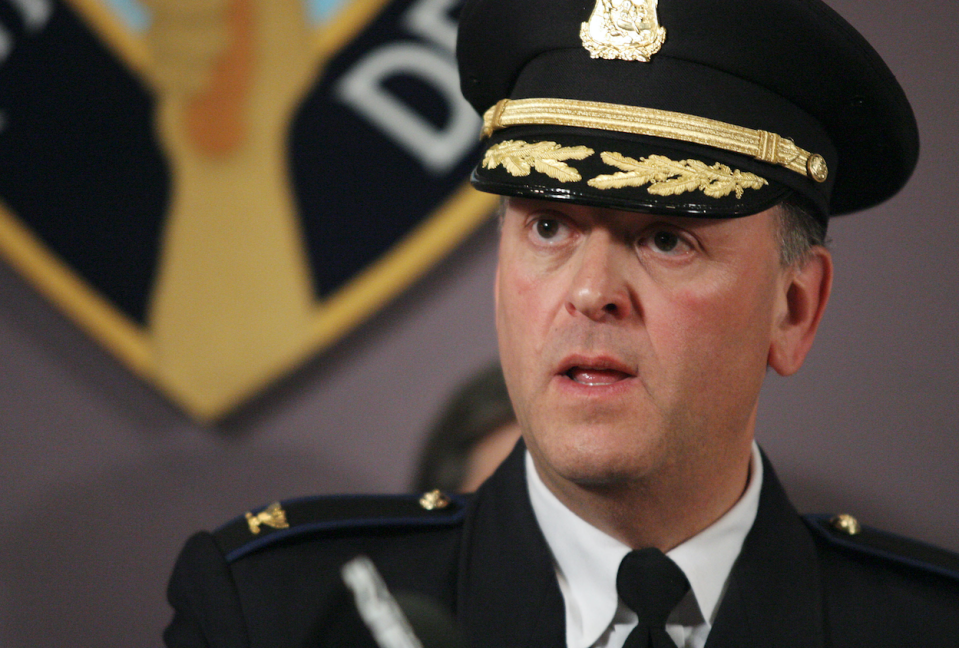 Then-Providence Police Chief Dean Esserman answers questions following a news conference on April 3, 2008. (AP/Stew Milne)