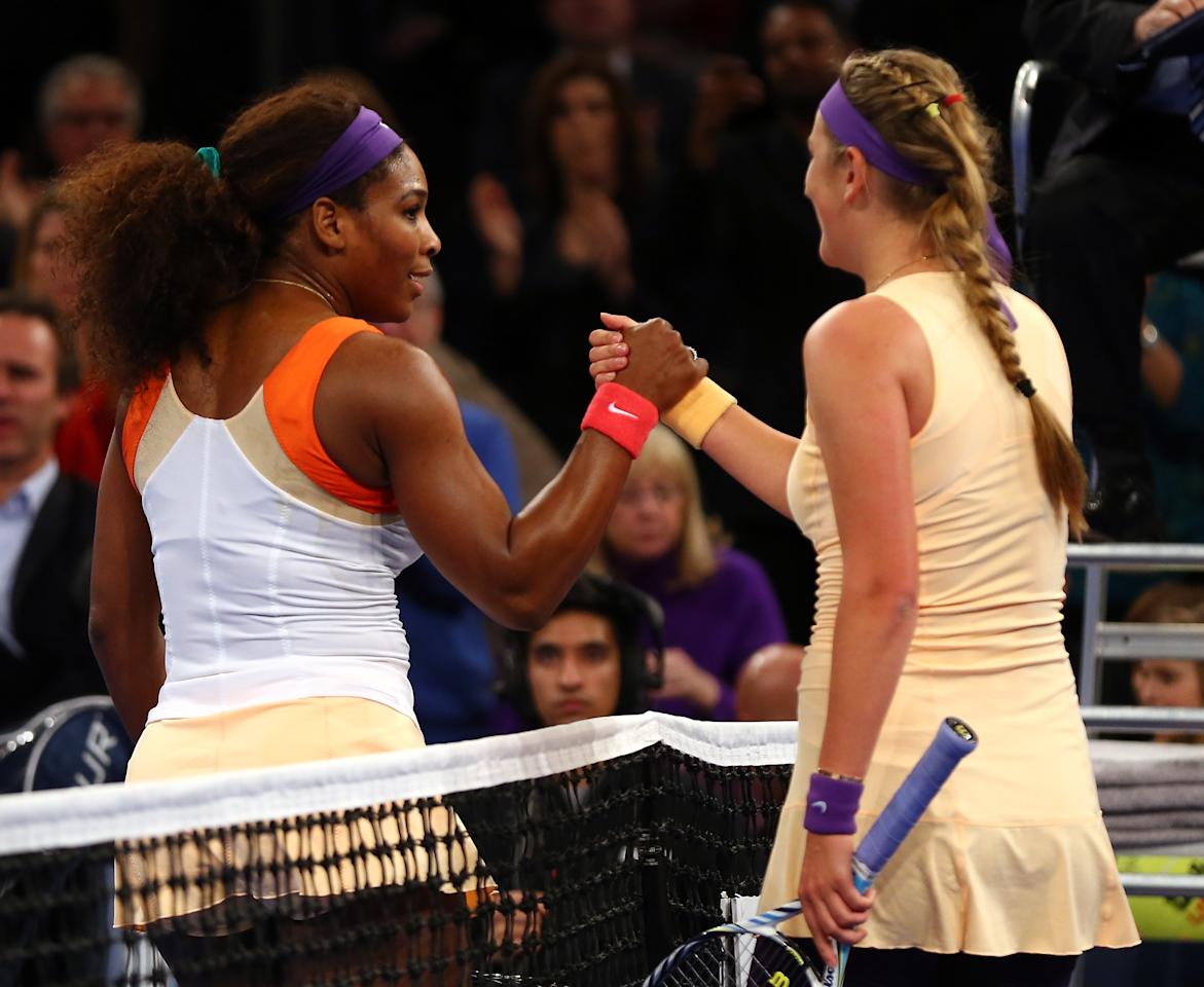 NEW YORK, NY - MARCH 04:  Serena Williams of the USA is congratulated by Victoria Azarenka of Belarus after she won the BNP Paribas Showdown on March 4, 2013 at Madison Square Garden in New York City.  (Photo by Elsa/Getty Images)