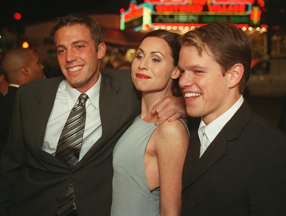 """Cast members of the new Gus Van Sant film, """"Good Will Hunting"""" Ben Affleck, left, Minnie Driver and Matt Damon arrive at the premiere of the movie Tuesday, Dec. 2, 1997, in Los Angeles.  The movie also stars Robin Williams. (AP Photo/John Hayes)"""