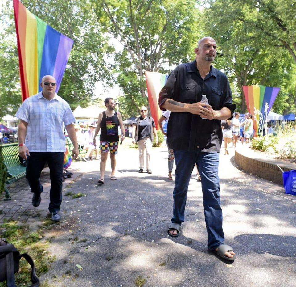 John Fetterman attends the Reading Pride festivities Sunday in Centre Park. (Jeremy Drey/MediaNews Group/Reading Eagle via Getty Images)