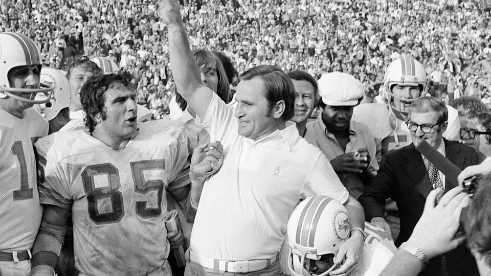 Mandatory Credit: Photo by Anonymous/AP/Shutterstock (10456491a)Miami Dolphins coach Don Shula lets out with a roar as the gun sounds to give his Dolphins a 14-7 Super Bowl victory over the Washington Redskins in Los Angeles.