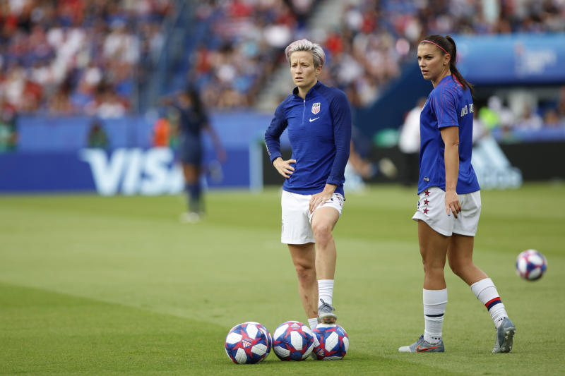Megan Rapinoe and Alex Morgan of United States during the 2019 FIFA Women's World Cup France Quarter Final match between France and USA at Parc des Princes on June 28, 2019 in Paris, France. (Photo by Mehdi Taamallah / Nurphoto) (Photo by Mehdi Taamallah/NurPhoto via Getty Images)