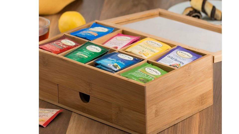Premium Bamboo Tea Box Organizer. (Image via Amazon)
