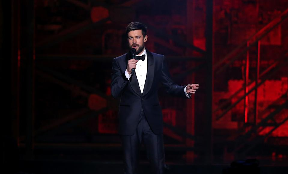 Jack Whitehall on stage at the Brit Awards 2020 at the O2 Arena, London. (Photo by Isabel Infantes/PA Images via Getty Images)