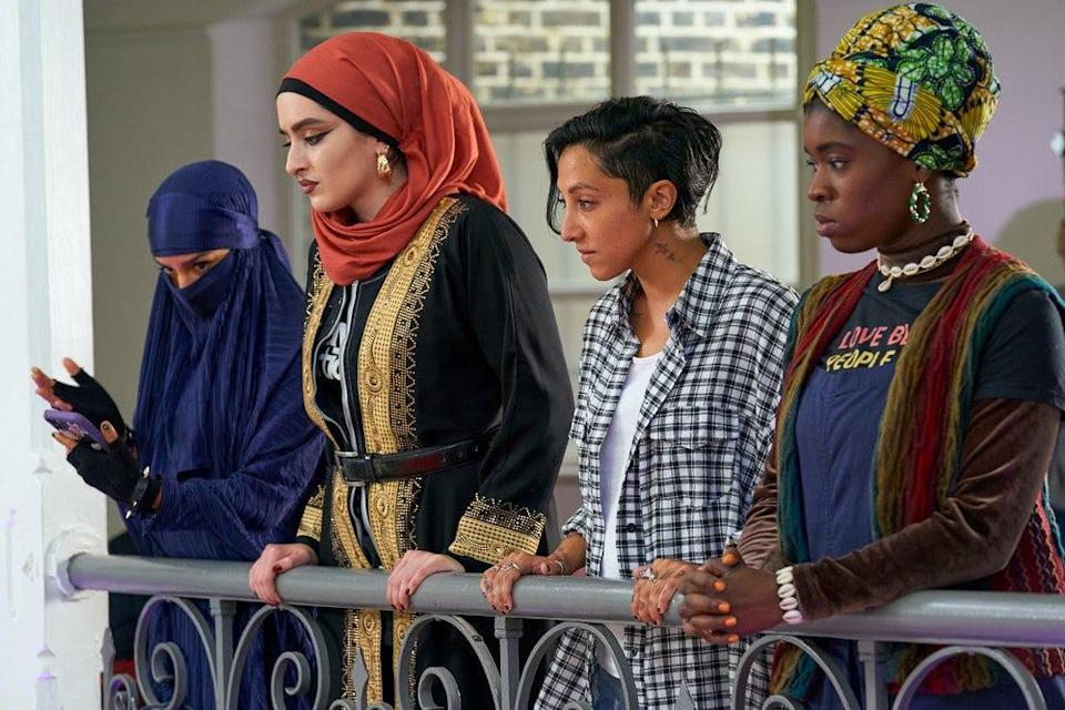 """Lucie Shorthouse as Momtaz, Juliette Motamed as Ayesha, Sarah Kameela Impey as Saira and Faith Omole as Bisma on """"We Are Lady Parts."""""""