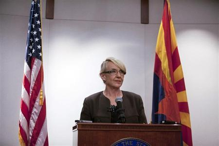 Arizona Governor Jan Brewer makes a statement saying she vetoed the controversial SB1062 bill at the Arizona State Capitol in Phoenix