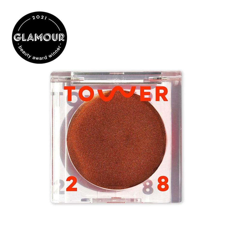 """This bronzer is a little intimidating in the pan, but gently buffed onto your skin, it's truly stunning. It has almost a balmlike texture that leaves a glossy glow and a hint of shimmer. Although it's incredibly dewy, it's not sticky or greasy, and it makes you look alive in 2.5 seconds. Since it's so glowy, it means you can skip highlighter as well. $20, Tower 28. <a href=""""https://shop-links.co/1705210670121765735"""" rel=""""nofollow noopener"""" target=""""_blank"""" data-ylk=""""slk:Get it now!"""" class=""""link rapid-noclick-resp"""">Get it now!</a>"""