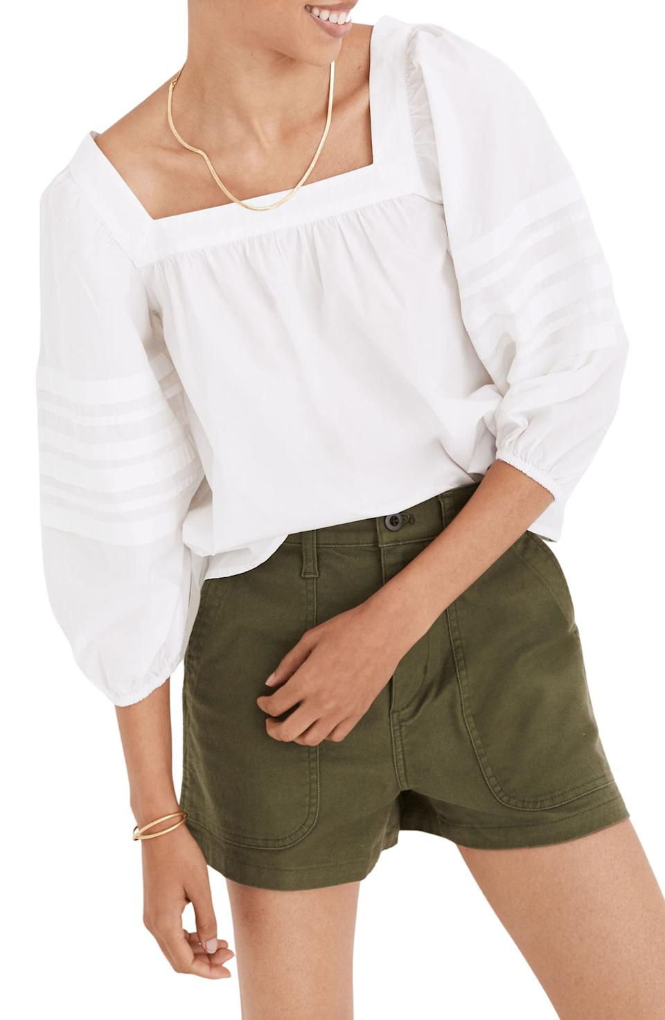 Madewell Square Neck Pleat Sleeve Top. Image via Nordstrom.