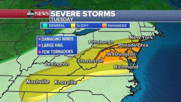 PHOTO: Severe weather moves into the mid-Atlantic on Tuesday. (ABC News)