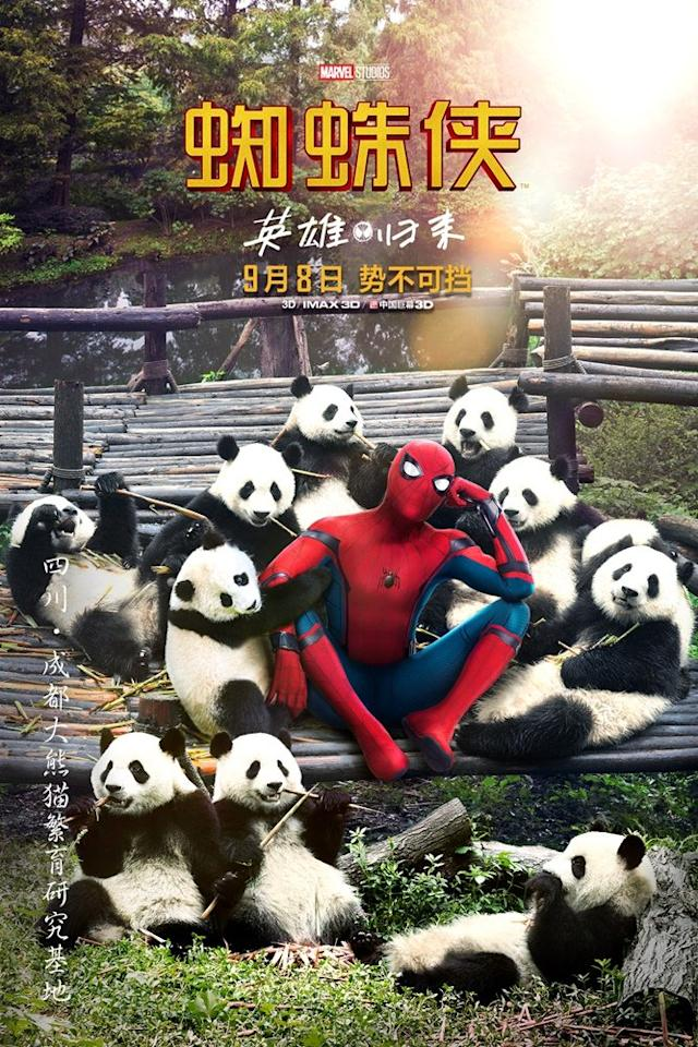<p>Spidey AND pandas? Could anything be more adorable? (Credit: Sony/Marvel Studios) </p>