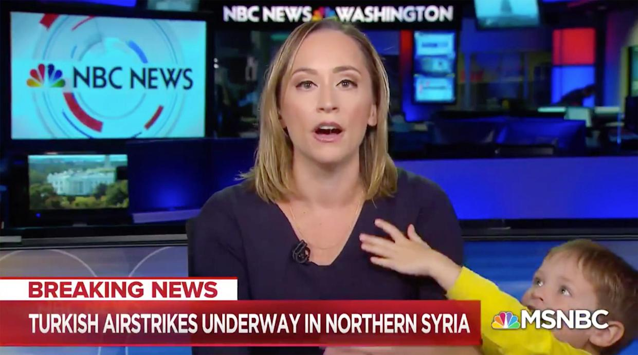 NBC correspondent Courtney Kube was interrupted by her son live. (Credit: MSNBC)