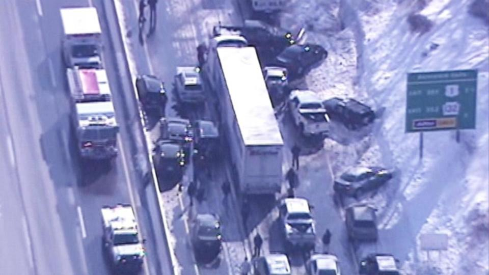 Pileup on icy Pennsylvania Turnpike injures dozens, snarls traffic much of the day