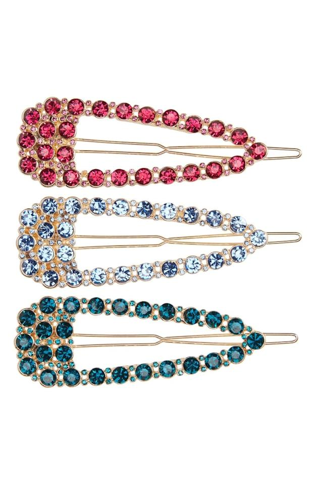 """<p><a href=""""https://www.popsugar.com/buy/8-Other-Reasons-3-Pack-Crystal-Embellished-Barrettes-534916?p_name=8%20Other%20Reasons%203-Pack%20Crystal%20Embellished%20Barrettes&retailer=shop.nordstrom.com&pid=534916&price=47&evar1=fab%3Aus&evar9=47042845&evar98=https%3A%2F%2Fwww.popsugar.com%2Fphoto-gallery%2F47042845%2Fimage%2F47043273%2F8-Other-Reasons-3-Pack-Crystal-Embellished-Barrettes&list1=shopping%2Cnordstrom%2Cwinter%20fashion&prop13=api&pdata=1"""" rel=""""nofollow"""" data-shoppable-link=""""1"""" target=""""_blank"""" class=""""ga-track"""" data-ga-category=""""Related"""" data-ga-label=""""https://shop.nordstrom.com/s/8-other-reasons-3-pack-crystal-embellished-barrettes/5451548/full?origin=category-personalizedsort&amp;breadcrumb=Home%2FWomen%2FNew%20Arrivals&amp;color=beige%20multi"""" data-ga-action=""""In-Line Links"""">8 Other Reasons 3-Pack Crystal Embellished Barrettes</a> ($47)</p>"""
