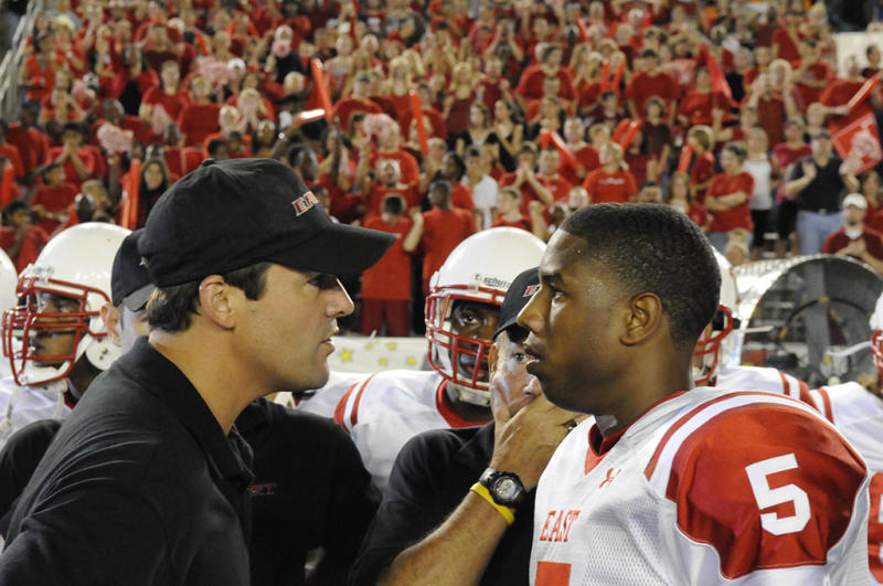 """FRIDAY NIGHT LIGHTS -- """"Always"""" Episode 513 -- Pictured: (l-r) Kyle Chandler as Coach Eric Taylor, Michael B. Jordan as Vince Howard -- Photo by: Bill Records/NBC"""