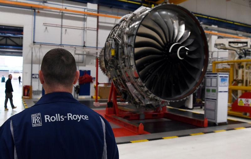 FILE PHOTO: Rolls Royce Trent XWB engines, designed specifically for the Airbus A350 family of aircraft, are seen on the assembly line at the Rolls Royce factory in Derby