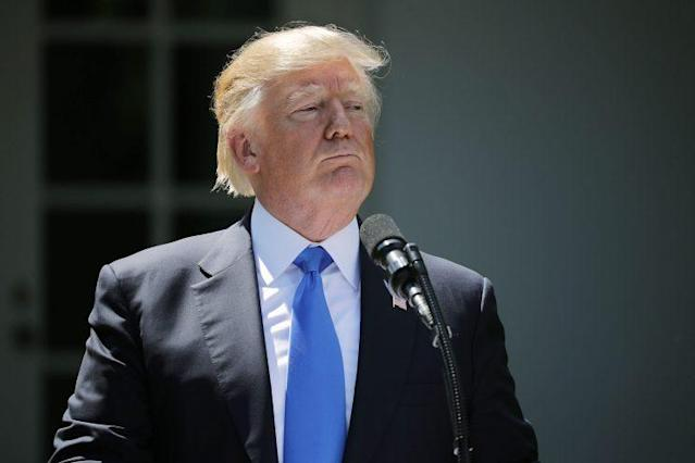 Trump at a joint news conference with Romanian President Klaus Iohannis at the White House on June 9. (Chip Somodevilla/Getty Images)