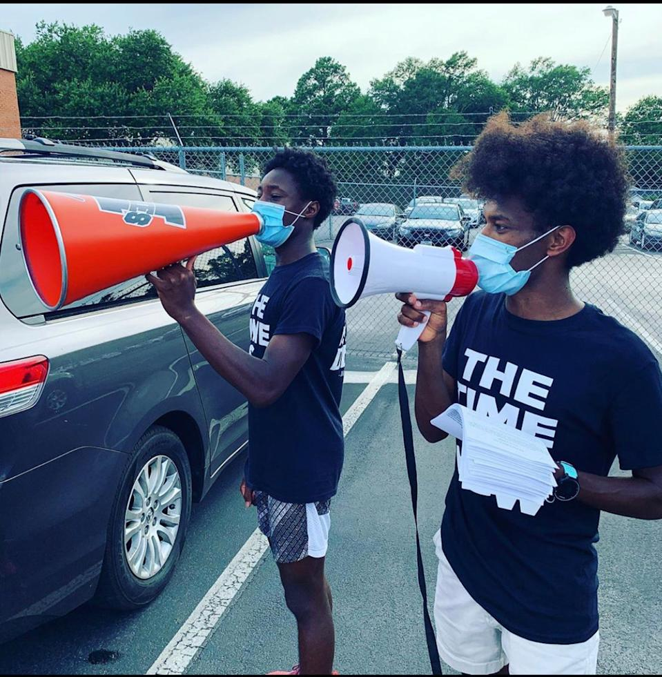 Tyler, Texas students Nick Knight and Felix Lamb protest a recent school board meeting and demanding the name of their high school, named after Confederate leader Robert E. Lee, be changed. (Photo courtesy of Nick Knight.)