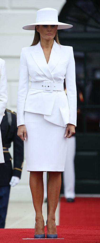 She donned a big white hat during the official welcoming ceremony. (Photo: Getty Images)