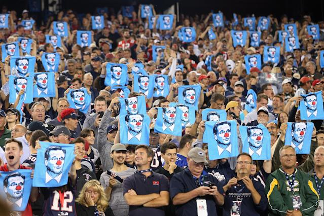 <p>Fans hold towels depicting NFL Commissioner Roger Goodell wearing a clown nose during the game between the Kansas City Chiefs and the New England Patriots at Gillette Stadium on September 7, 2017 in Foxboro, Massachusetts. (Photo by Maddie Meyer/Getty Images) </p>